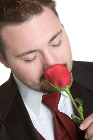 Man Smelling Red Rose Stock Photo - 1142713