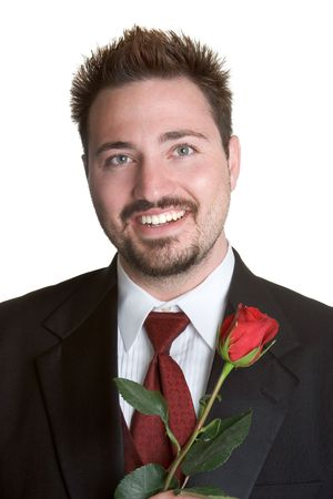 Man with Red Rose Stock Photo - 1142714