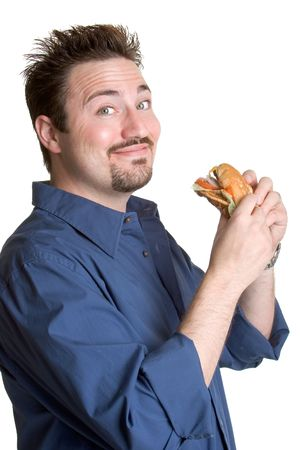 man with a goatee: Fast Food Guy