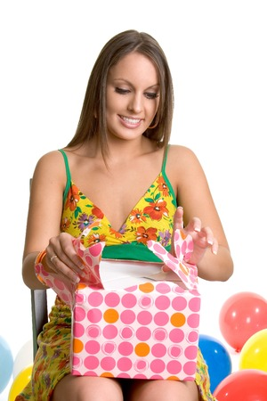 Girl Opening Present Stock Photo - 1413740