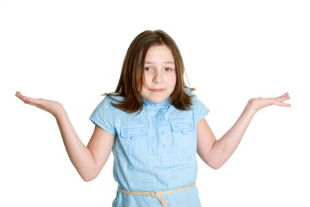 hand on shoulder: Shrugging Girl
