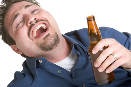 drunk: Laughing Beer Man Stock Photo