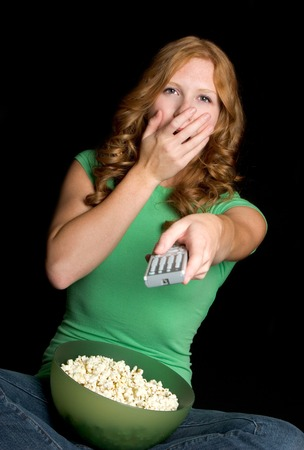 Girl Watching Television photo