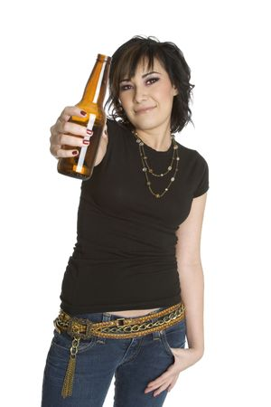 punk hair: Girl With Beer