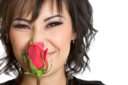 scent: Girl Smelling Rose Stock Photo