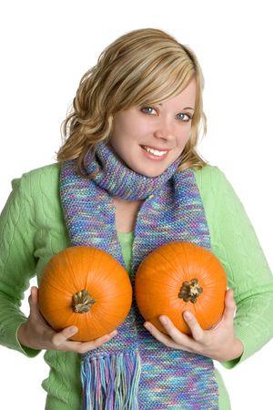 Woman Holding Pumpkins photo