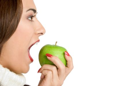 woman face profile: Woman Eating Apple