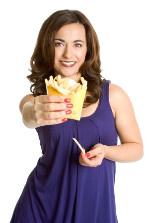 Woman Eating French Fries photo