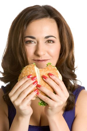 Woman Eating Sandwich photo