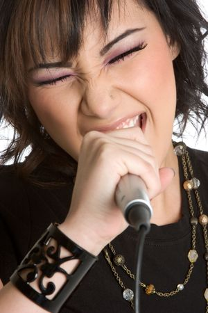 Young woman singing photo
