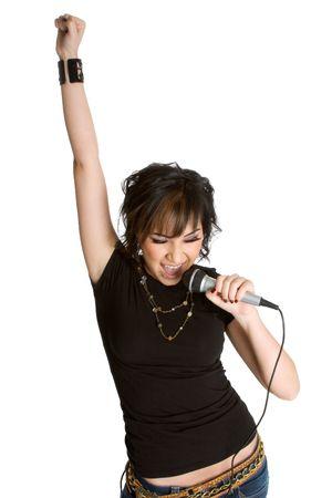 personas cantando: Cantante De la Estrella De Roca Foto de archivo