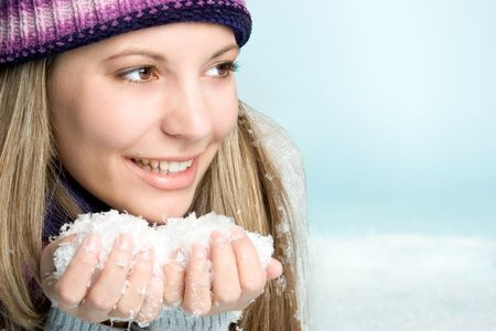 Pretty Snow Girl Stock Photo