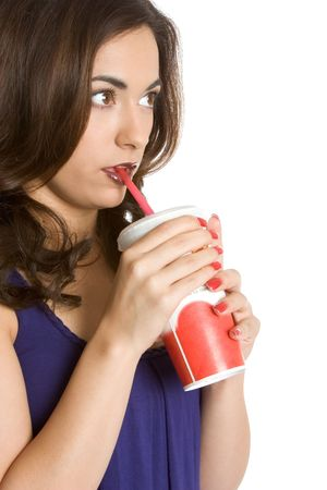 red straw: Woman Drinking Soda