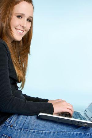 Teen Girl Typing photo