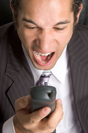 Man Yelling in Phone Stock Photo