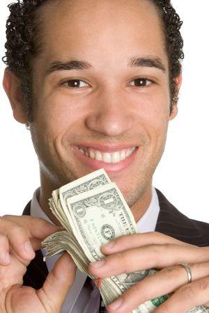 contando dinero: Hombre contando dinero