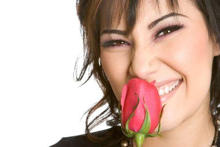 Girl Smelling Rose photo
