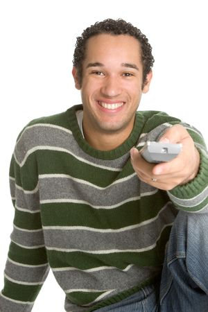 tv remotes: Guy With TV Remote Stock Photo