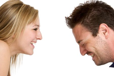 man face profile: Couple Laughing Stock Photo