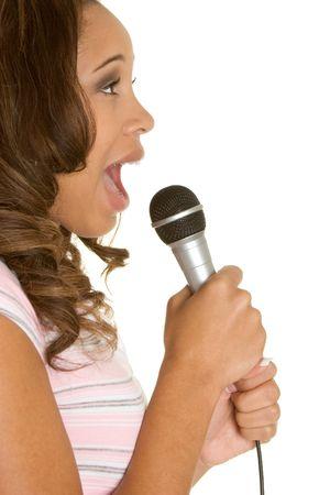singing girl: Karaoke Teen Stock Photo