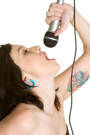 kareoke: Singing Rocker Girl Stock Photo