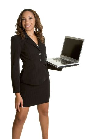 skirt suit: Businesswoman with Computer Stock Photo