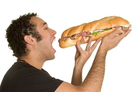 Sandwich Man Stock Photo