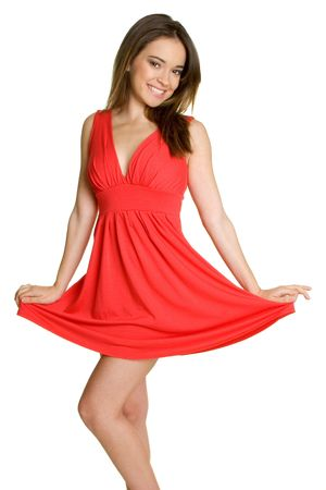 dressy: Red Dress Girl Stock Photo
