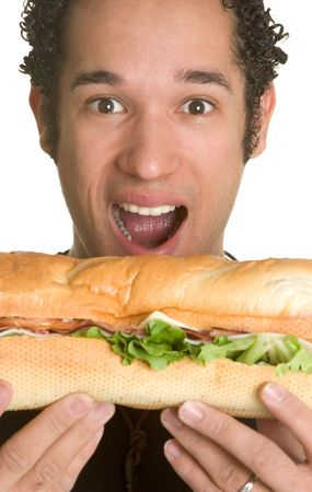 hoagie: Man With Big Sandwich Stock Photo