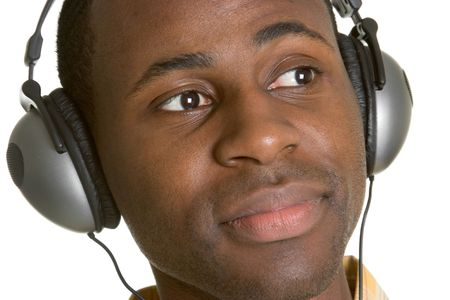Man Wearing Headphones Stock Photo