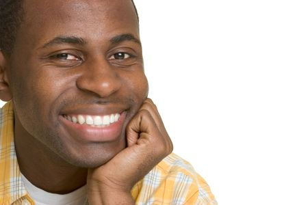 yellow teeth: Happy Black Man