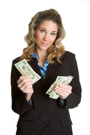 contando dinero: Mujer contar dinero  Foto de archivo