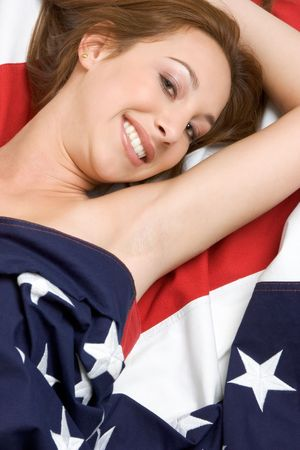 Girl Wrapped in Flag Stock Photo - 2782003