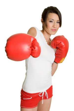 gloves women: Punching Girl Stock Photo