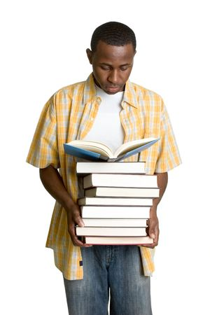 student reading: Man With Books