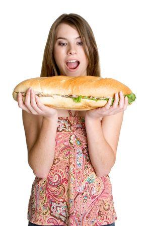 comiendo pan: Muchacha Del Emparedado Foto de archivo