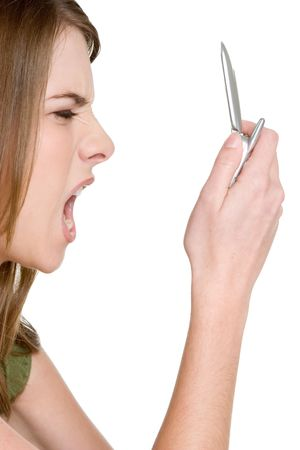 Yelling in Cell Phone Stock Photo - 2981021
