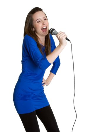 kareoke: Singing Woman Stock Photo