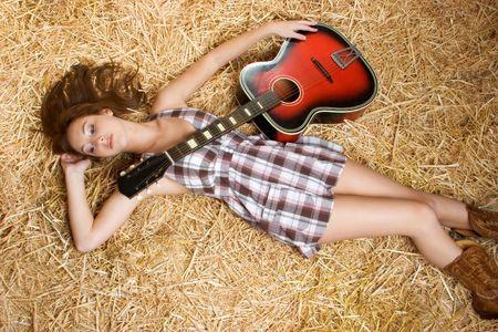 teenage girl dress: Country Music Teen Stock Photo