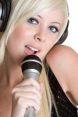 Blond Woman Singing photo