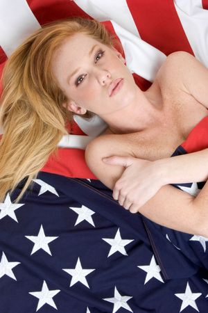 American Flag Girl Stock Photo - 3052233