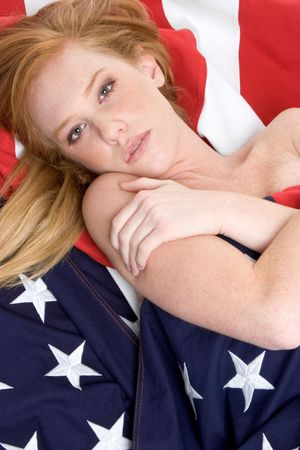 Redhead in Flag Stock Photo - 3052235