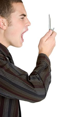 Businessman Yelling in Phone Stock Photo - 3059435