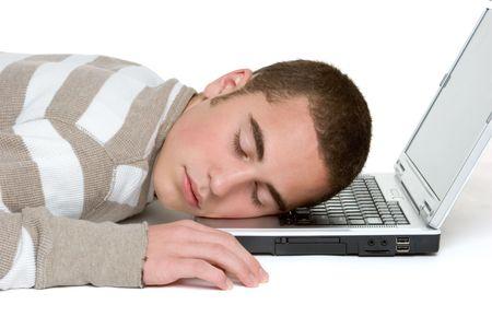 Sleepy Laptop Boy Stock Photo - 3083918