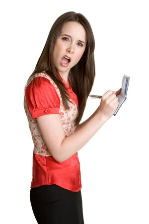 Shocked Woman Writing Checks Stock Photo - 3059456