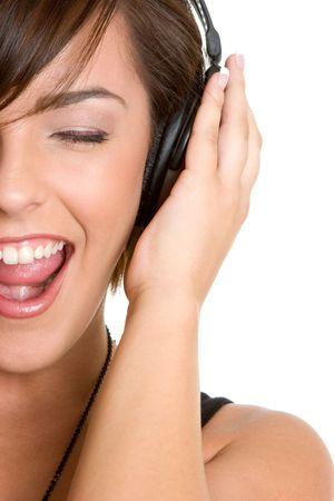 casque audio: Fille d'�coute de la musique