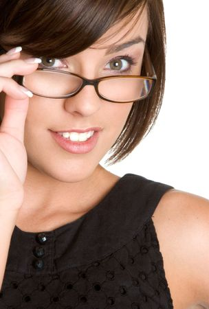 Pretty Girl Wearing Glasses Archivio Fotografico