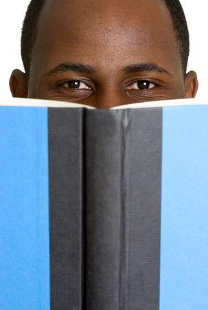 peering: Man Hiding Behind Book