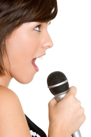 kareoke: Singing Lady Stock Photo