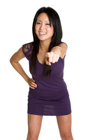Asian Woman Pointing Stock Photo
